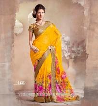 Yellow Digital Print Saree