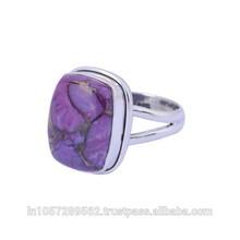 Handmade 925 Sterling Silver Cushion 16 X 12 mm Purple Turquoise Gemstone Ring Jewelry