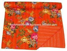 orange flower print cotton quilt,bedspread throw blanket quilt
