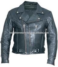 Mens Black Classic Motorcycle Jacket Leather Biker Jacket