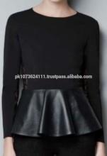women leather long sleeve t shirts