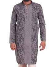 Grey with Black Print loop Button Style Kurta