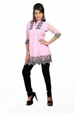 Latest Designer Fashionable Printed Georgette Pink Color Kurti Kurta Top VIKU6005