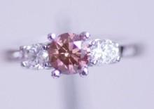 Fantasia rosa naturale 0,50 carati di diamanti in oro bianco 14k 3 pietra anello di fidanzamento