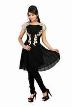 Latest Designer Fashionable Printed Georgette Black Color Kurti Kurta Top VIKU6007
