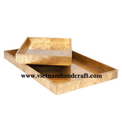 Best quality eco-friendly traditionally handmade vietnamese metallic bronze lacquer wooden fruit trays