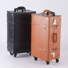 wholesale style vintage trunk leather large suitcase carry on bags pvc luggage hot selling in japan