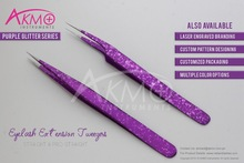 2015 New Stylish Purple Glitter Series for Eyelash Extension Tweezers/ Straight Tweezer for Eyelash Extension with Custom Brand