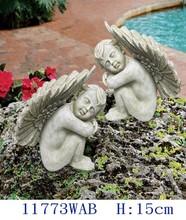 "H: 5-7/8"" Polyresin angel 2pcs/set in antique white color"