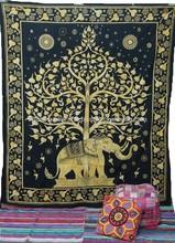 Elephant Mandala Indian Tapestry Boho Hippie Bedspread Throw Decor from India on Alibaba
