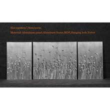 3pcs/set Modern Grass Metal Wall Art Sculpture Painting Decoration