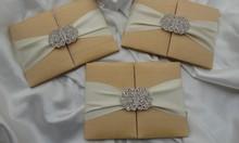 Gold Silk Wedding Invitation with embellishment