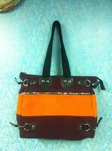Ladies Shoulder dual color Canvas Bag with Heavy Acid Wash