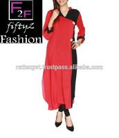 Red + Black Elegant Designer Fancy Kurti