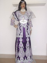Stunning purple moroccan caftan with amazing golden color shell peals,crystal beadsthread hand work on it for france beautyk8140