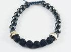 macrame black volcanic stone and hematite beads man bracalet