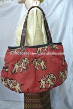 Thai Elephant Black Women Handbag Faux Leather Strap Ladies Tote Bag