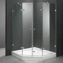 "Vigo Neo-Angle French Door Frameless Shower Enclosure with Base Size: 47"", Trim Finish: Chrome"