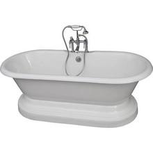 "Barclay TKCTDRHB-CP1 White/Polished Chrome Universal Tub Kit 67"" Ci DBL Roll Top, Base, Filler, Supplies, Drain"