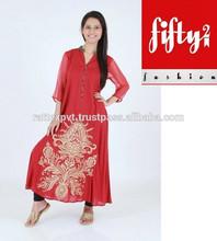 Red Embroidered Kurti With Black Choori Pajama 2015