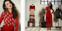 Designer Long Net & Georgette Red Party Wear Kurti