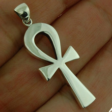 Ancient Egyptian ankh Cross Pendant, Medium (4.4g) Plain Solid Silver, pn512