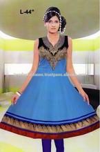 Blue Color ANARKALI ZARI Work Designer Cotton Kurti