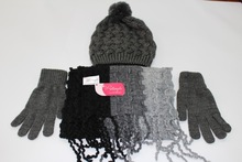 Winter knitted hat scarf and gloves set