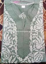 New Arrival 2015 Kurti Ladies hand embroidered kurti lakhnavi chicken embroidery kurti