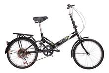 "20"" Folding Bicycle 6 Speed Bike Fold Storage Black"