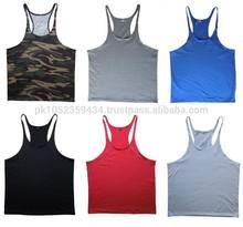 Top quality men's gym stringers latest designs/colors 2015