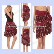 Summer Festival Gypsy Bohemian Wrap Skirt Hippie Cotton Midi Knee Goa Ethnic Wrap Around Skirts