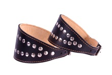 Genuine Leather Black Studded Collar for Whippet Lurcher Borzoi and Greyhound 4 Sizes Small Medium Large