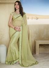 Fabulous Brasso Lace Work Designer Saree Sari