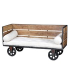 INDUSTRIAL IRON WOODEN DAY BED CUM SOFA WITH WHEEL