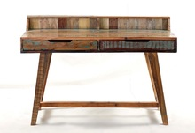 Vintage recycle wood console table with 2 drawers