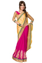 Triveni Striking Golden Bordered Pink and Yellow Colored Half-Half Saree 01