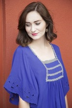 Embroidered butterfly sleeve design loose fit wholesale price women casual Blue top