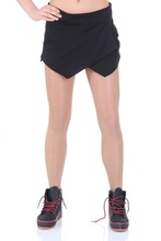 Sport asymmetric wrap front shorts with side slip pockets
