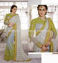 Light Grey Net Half & Half Saree