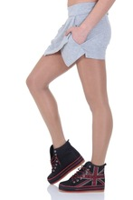 Sport grey asymmetric wrap front shorts with side slip pockets
