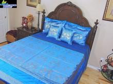 indian Elephant print 100% silk Sari Bedding Queen Set