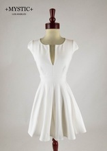 MYSTIC Slit Neck Cap Sleeve White Fit-and-Flare Skater Dress MADE IN USA