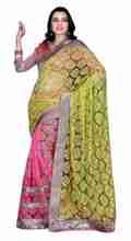 Triveni Evoking Golden Bordered Pink Colored Net Brasso Saree 710B