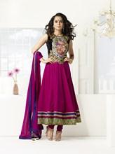 Triveni Kangana Ranaut's Outstanding Intricate Patch Designed Zari Bordered Silk Anarkali Suit 9000