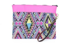 Pink Leather Wristlet with Guatemalan Diamond Pattern - Multi