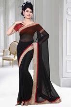 Triveni Classy Lace Bordered Black Color Chiffon Saree 120