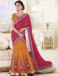 Triveni Charismatic Embroidered Wedding Lehenga Saree 3222