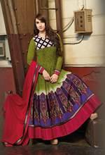 Triveni Outstanding Green Colored Printed Cotton Anarkali 8320B