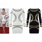 Celebrity Style Foil Print Bodycon Long Sleeve Ladies Dress